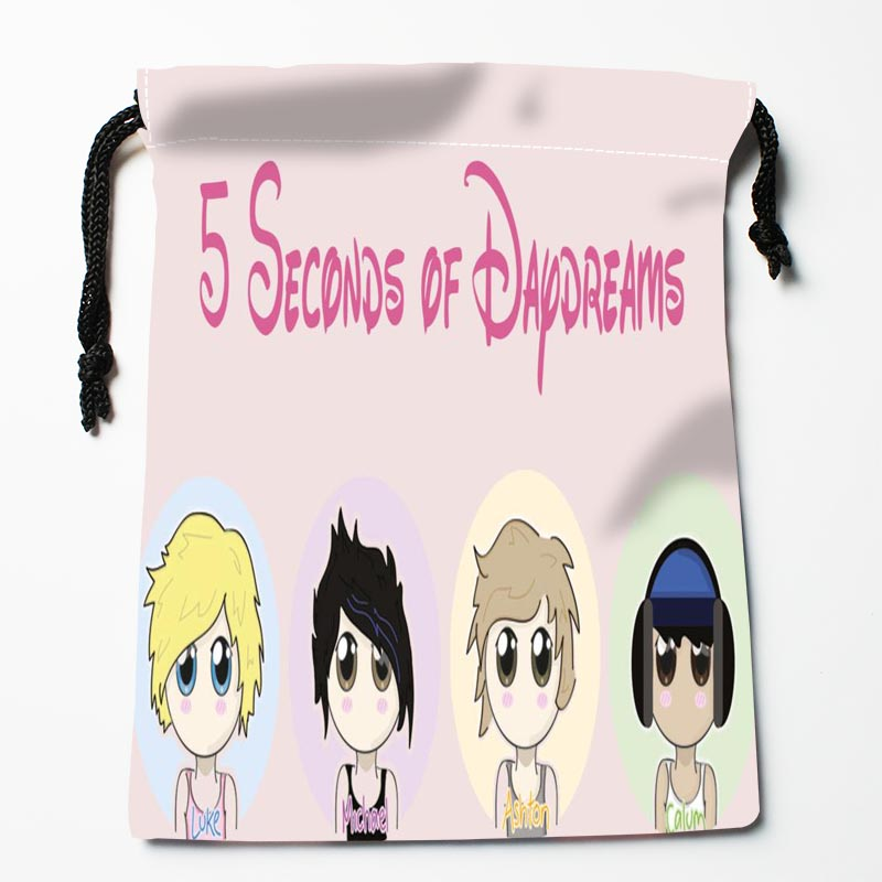 New Custom 5 Seconds Of Summer Drawstring Bags Custom Storage Bags Storage Printed Gift Bags Compression Type Bags
