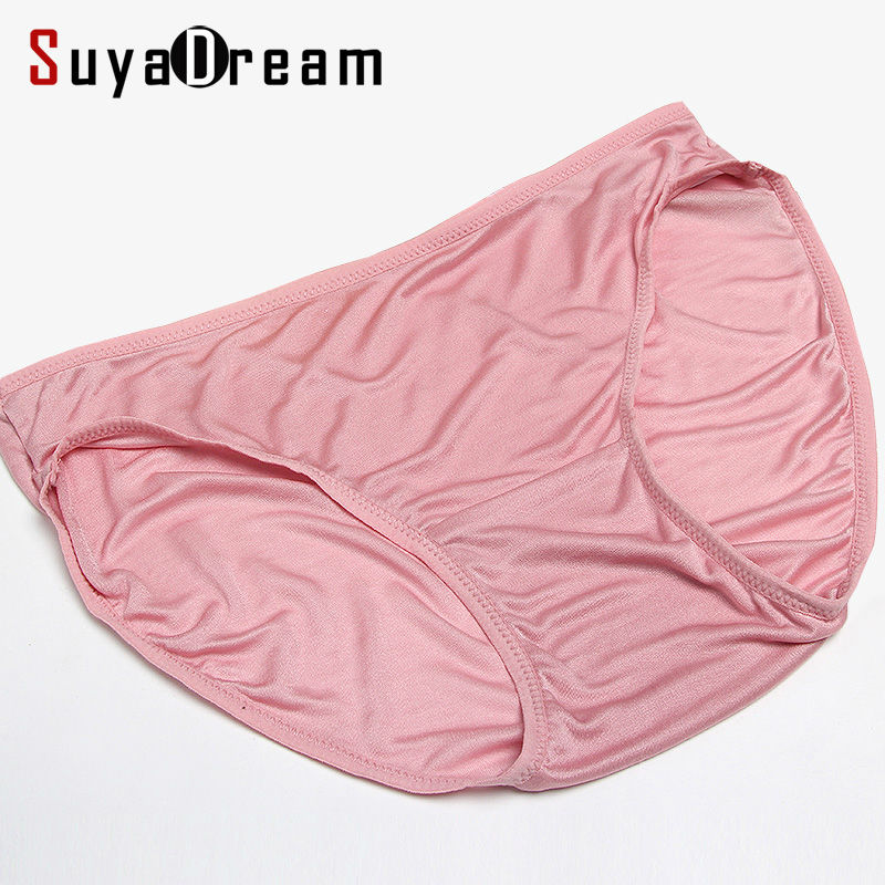 3pcs/lot Women Panties 100% Natural silk Briefs Mid-rise Underwear women Healthy lingerie Pink Nude 2017 New