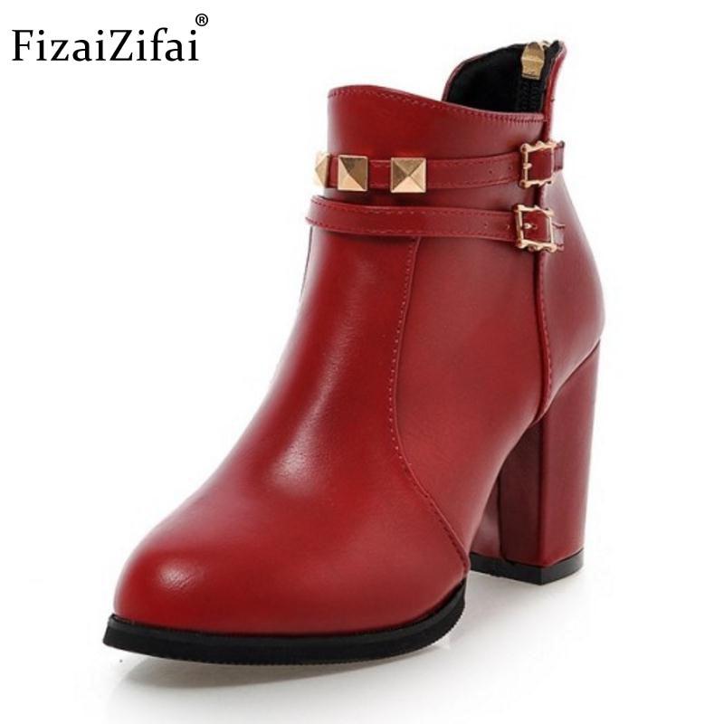 2019 Neuestes Design Fizaizifai Größe 30-48 Dame High Heel Stiefel Frauen Niet Metall Schnalle Spitz Starke Ferse Boot Warme Winter Weibliche Botas Mujer