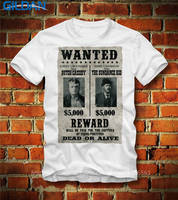 Male Designing Gildan Crew Neck Butch Cassidy The Sundance Kid Wanted Dead Or Alive Poster Men
