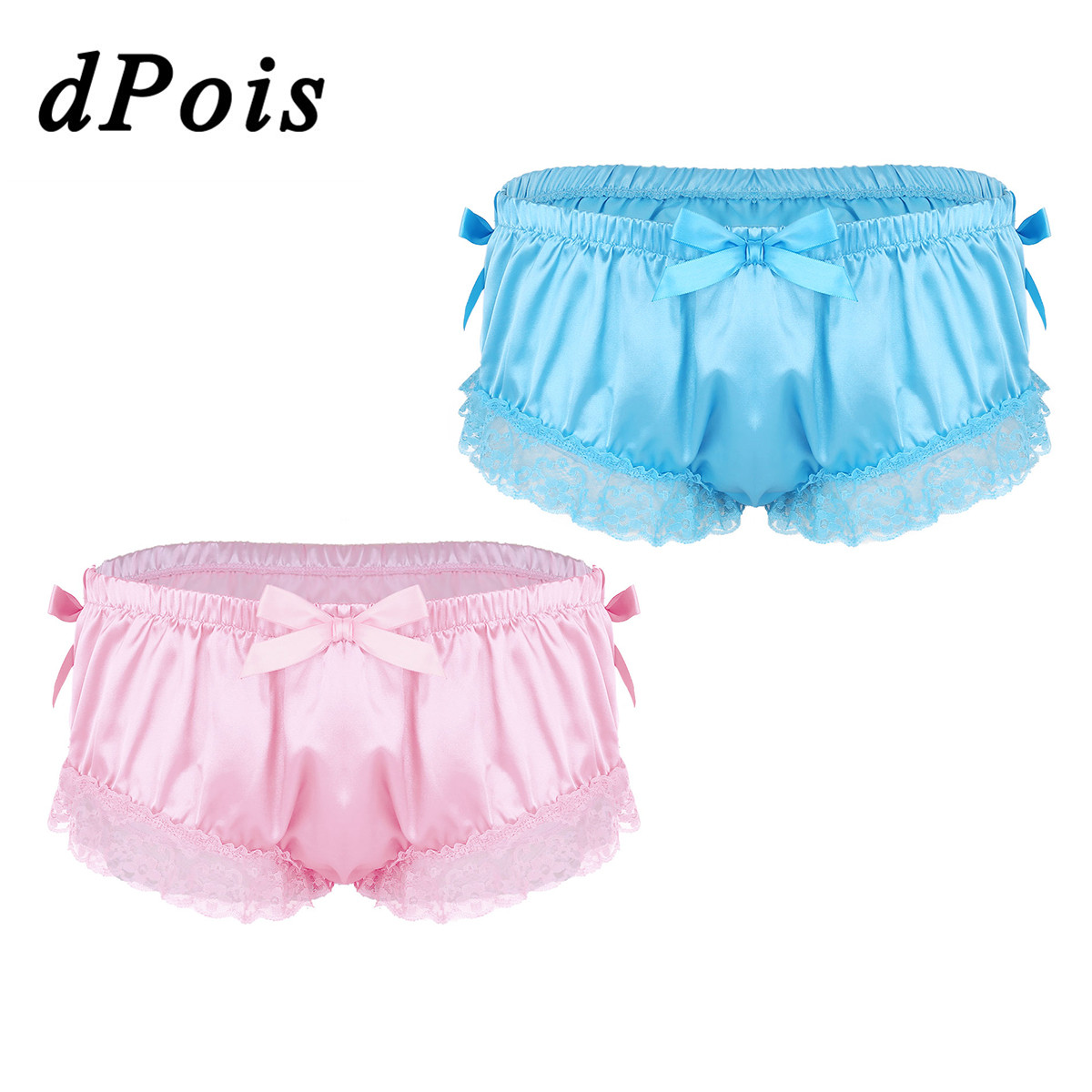 dPois Mens Shiny Satin Frilly Ruffled Lace Sissy French Maid 2 Piece Lingerie Set Bra Top Skirted Panties