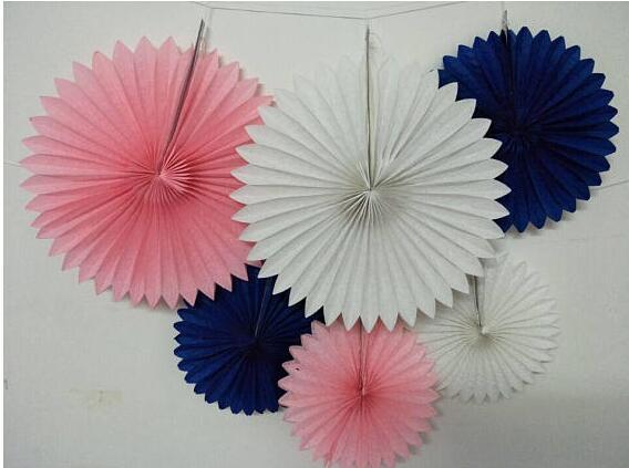 6 Pcs Mixed Sizes 12 16 Royal Blue Pink White Party Paper Fan Baby