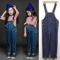 2017 Girls Denim Rolled Cuff Jeans Overalls Casual Denim Bib Pants Trousers 2-8Y