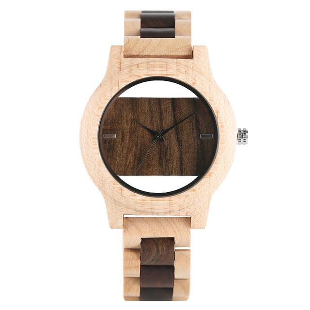 Men Full Wooden Bamboo Watch Bracelet Clasp Nature Wood Creative Bangle Gift Quartz Wrist Watch Relogio Masculino