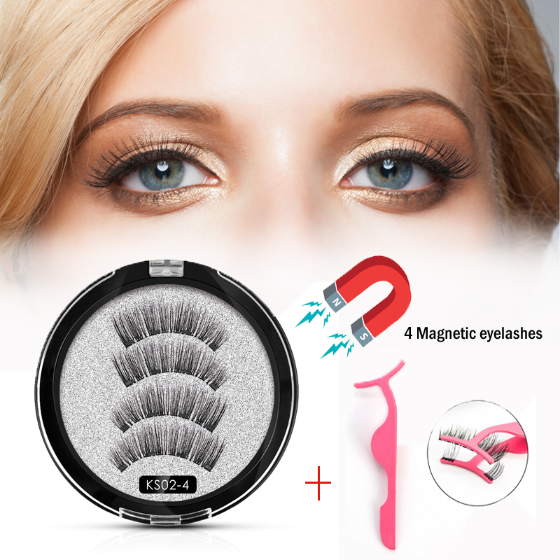 <font><b>Shozy</b></font> <font><b>Magnetic</b></font> <font><b>eyelashes</b></font> with 4 magnets handmade 3D <font><b>magnetic</b></font> lashes natural false <font><b>eyelashes</b></font> with applicator-KS02-4-TZ003 image