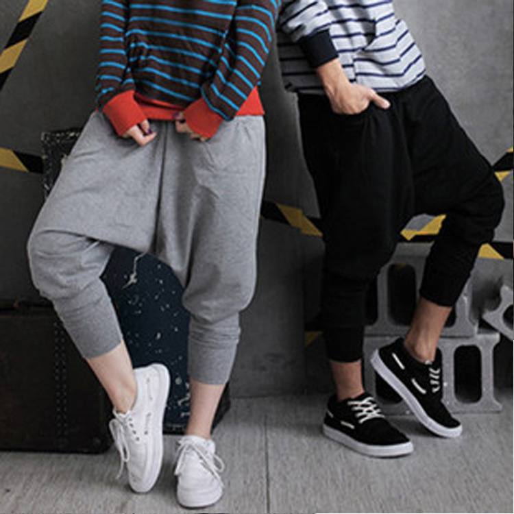 Kids Adult Spring Autumn Casual Solid  Black Grey Dance Harem Hip Hop Trousers Joggers Personality Pocket Big Crotch Pants