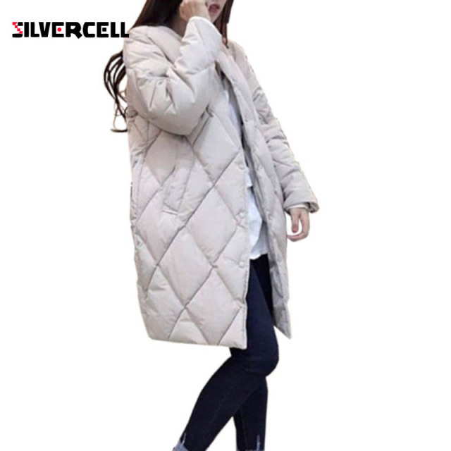 WJ Women's Cotton-padded Jacket New Winter Medium-long Down Cotton Parkas Plus Size Coat Female Slim Ladies Jackets And Coats