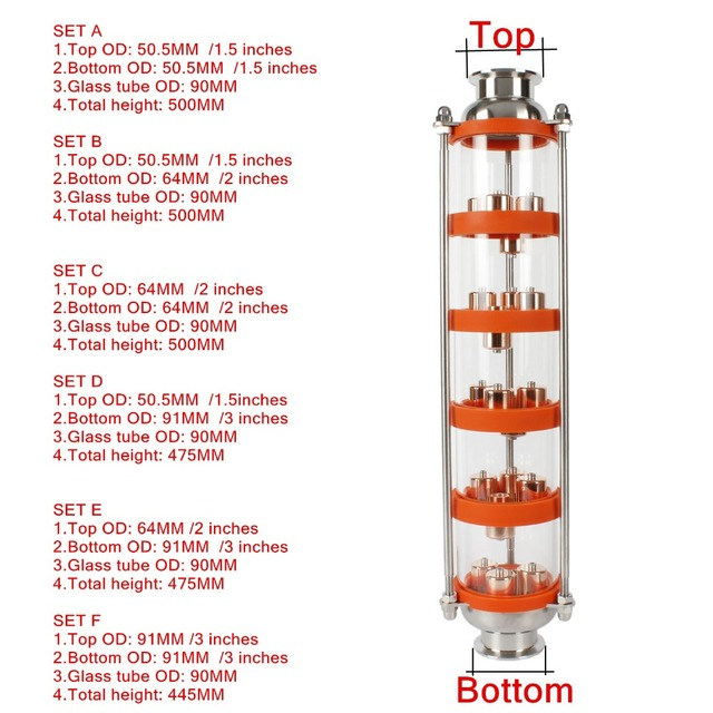 Colonne de Distillation à bulles dacier inoxydable/cuivre 304 avec 5 sections pour la distillation. Colonne de verre