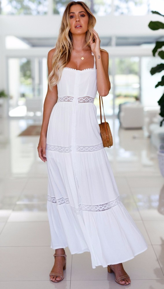 344c8cbf85fa Fashion Women White Backless Maxi Dress Bow Tied Rope 2018 Summer ...