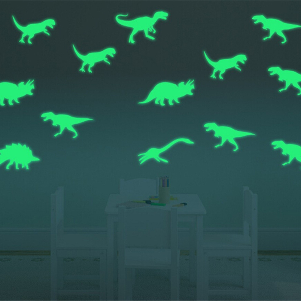9pcs glow in the dark dinosaurs toys stickers ceiling decal baby kid room [ 1002 x 1002 Pixel ]