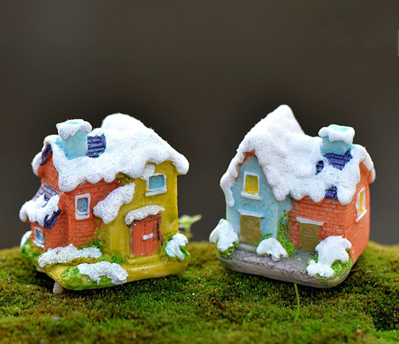 2pcs christmas snow houses resin craft micro landscape for Figurine decoration jardin