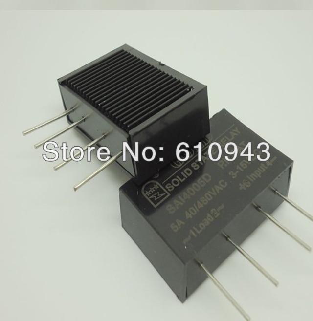 SAI4005D DC to AC 5A SSR input 3-15v or 15-28v output 40-480VFreeshipping PCB small solid state relay single-in-line sai ku a sai ku 321302157ufo168strip