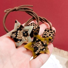 Korea Leopard-print Star Pearl Rhinestone Double Knotted  Elastic Hair Bands Accessories Rubber Band Ring Ties