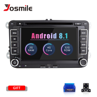 Josmlie Авторадио 2din Android 8,1 автомобиль DVD PlayerFor VW Passat B6 T5 Amarok Volkswagen Skoda Octavia 2 превосходное 3 место Леон Golf56