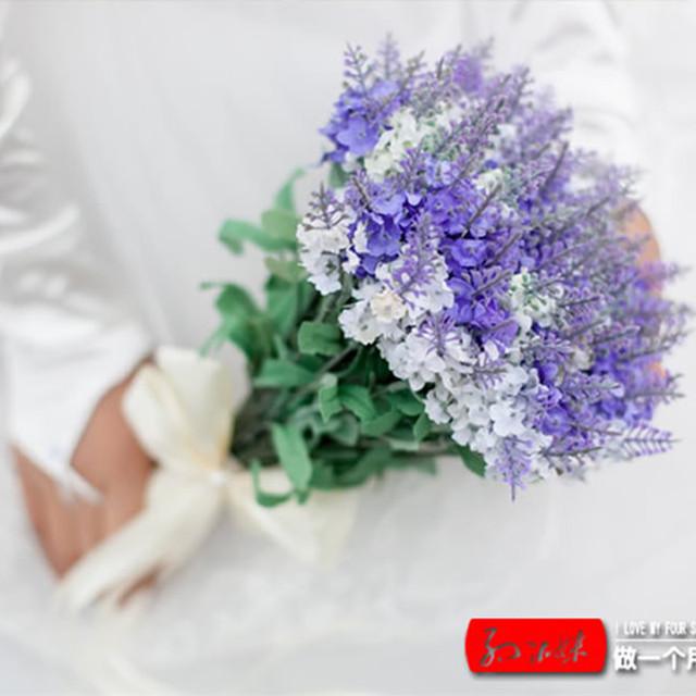 Boda de decoración del hogar Artificial flor de la lavanda ramos lavanda ramo de la boda decorativo
