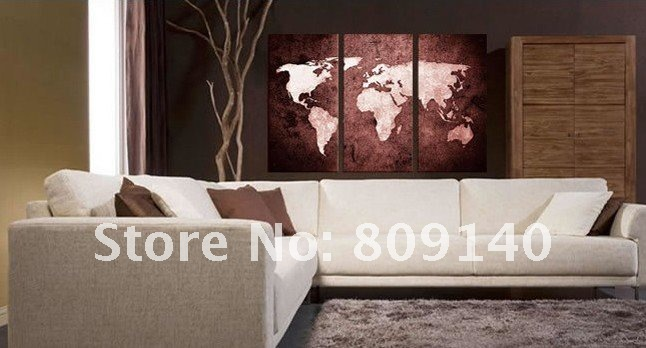 Dining Room With World Map Wall Decor