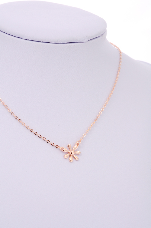 643c73edb23ec AOLOSHOW Simple dainty Tiny necklace women Daisy necklace wholesale rose  Gold color bloom jewelry