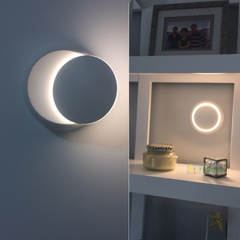 Stair Modern 5W Led Circular Wall Lamps With Adjustable Lampshade Bedside Wall Light Sconce Art Salon Living Room Corridor Light