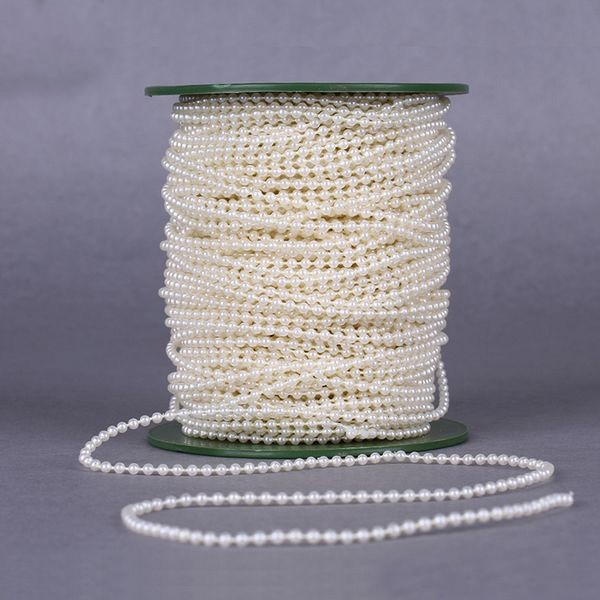 White Pearl Beads Strand Garland Acrylic Wedding Pearl: 10Meters/bag 3MM Pearl Beads Chain Fishing Line Flower
