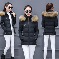 Cotton clothing jacket Korean winter women's thick short section cotton jacket loose large fur collar coat winter bs7257