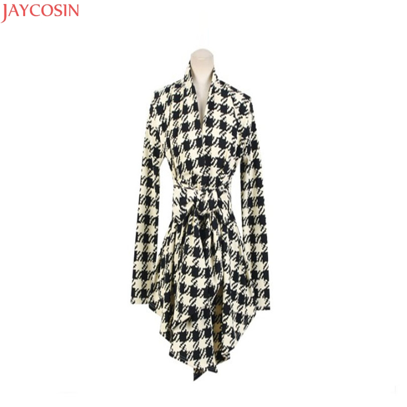 women jacket women basic coats plus size Korean Womens Houndstooth Pattern Thin Cardigan Coat Jacket Outwear TJ 3