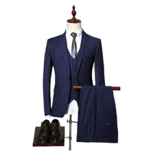 jacket pants vest 2017 new arrival high quality fashion single breasted suits men stripe men s