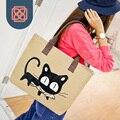 2016 Harajuku ladies shoulder Bags cute cat  Handbag  Canvas Totes  Beach Bag