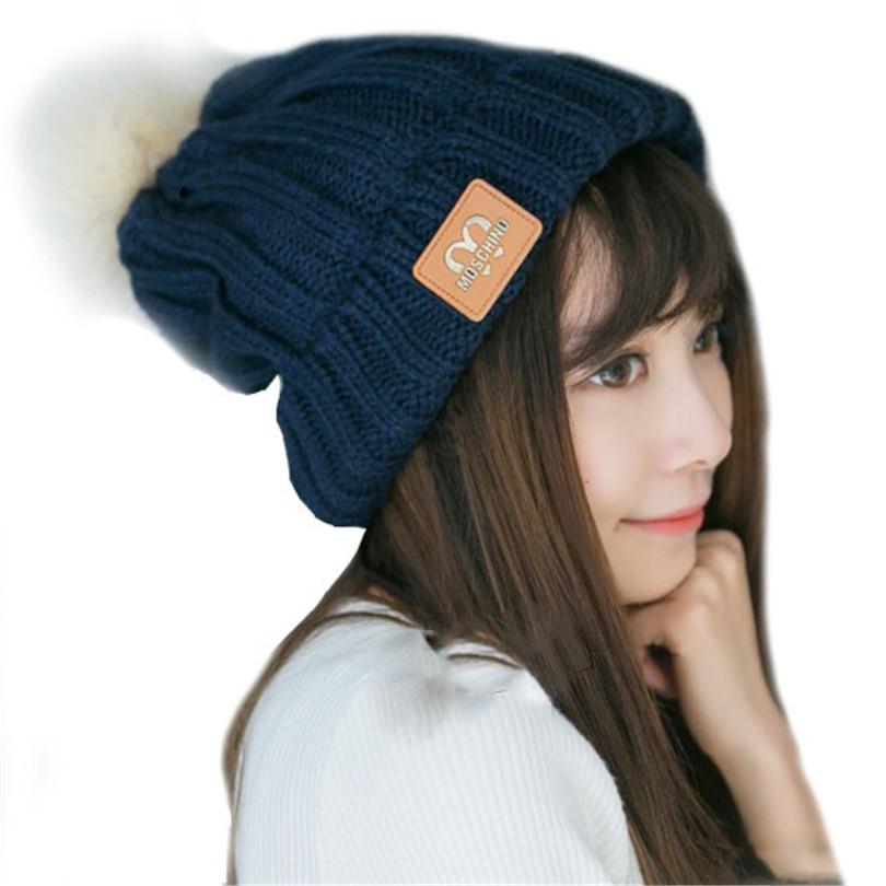 invierno de las mujeres sombreros gorras de tejer gorros de lana cap mujer caliente marca cubierto