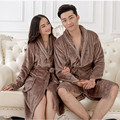 2016 Autumn winter bathrobe women men lady's long sleeve flannel robe female male sleepwear robe lounges homewear pyjamas dress