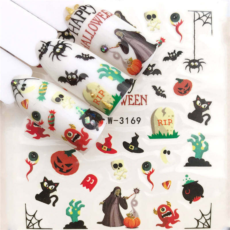 WUF 2019 New Arrivial Halloween  Series Water Decal Animal / Flower 3D Manicure Sticker Nail Water Sticke
