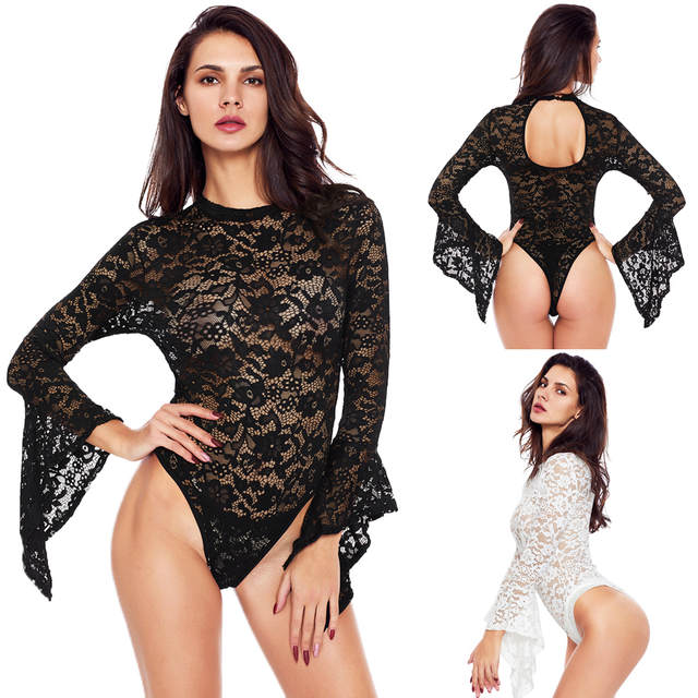 New Autumn Combinaison Femme Black White Sheer Floral Lace Bell Sleeve  Turtleneck Bodysuit Long Sleeve Body 214bc47c6