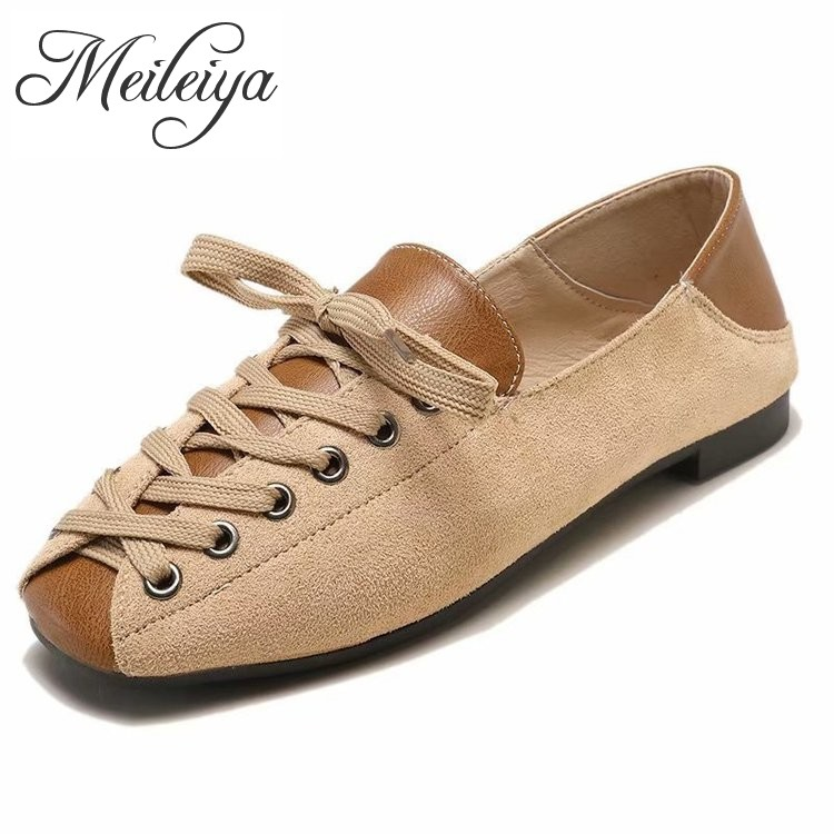 Women's Patchwork   Leather     Suede   Casual Loafers Driving Moccasin Flats Lace Up Square Toe Peas Shoes Leisure Office Work Footwear