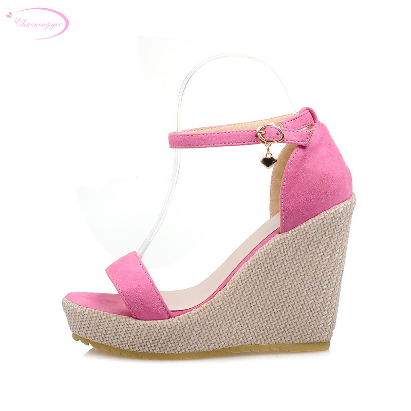 Chainingyee sweet party style summer cool sandals fashion belt buckle platform black pink green high-heeled wedge women's shoes