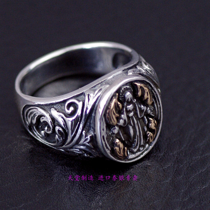 s925silver Thailand jewelry Virgin Mary's ring retro Thai Silver Rings - 2