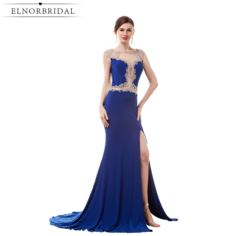 Royal Blue Sheer Evening Dress Long 2017 Vintage Illusion Back Mermaid Prom Dresses Formal Women Robe De Soiree Party Gowns