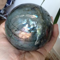 95mm Natural Healing Crystal Rock Labradorite Sphere Ball Special Minerals for Home Decoration Ornaments 2019 Hot Sale fengshui