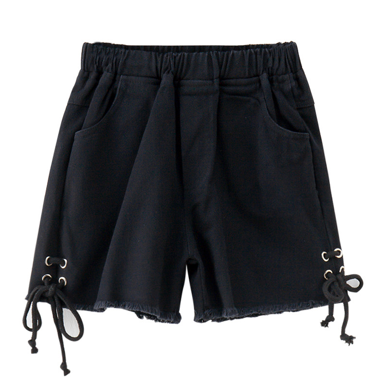 Girls Black Denim Shorts