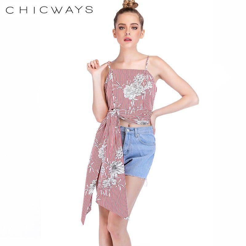 Chicways Striped print Split Tie Back Crop Cami Top Women Casual Spaghetti Strap Bow Top Vest 2018 Summer Knot Beach Vest