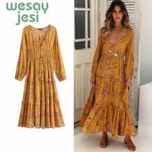 2019 Summer dress chic Floral Print Midi Dress Women V-Neck Long Sleeve Autumn Dresses Button Elastic Waist Casual Beach Dress цена 2017