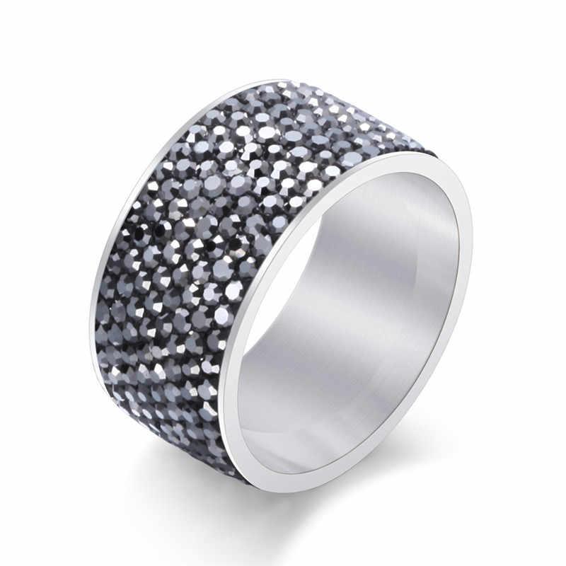 8 แถว Stylish Punk AAA Zircon แหวนสแตนเลสผู้ชายแหวนผู้หญิง Charm เครื่องประดับงานแต่งงานเครื่องประดับ 2019