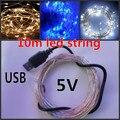 33ft 10 m USB 5 V Sliver fio cristmas corda LED natal de luzes branco quente decoração de natal ao ar livre ano novo