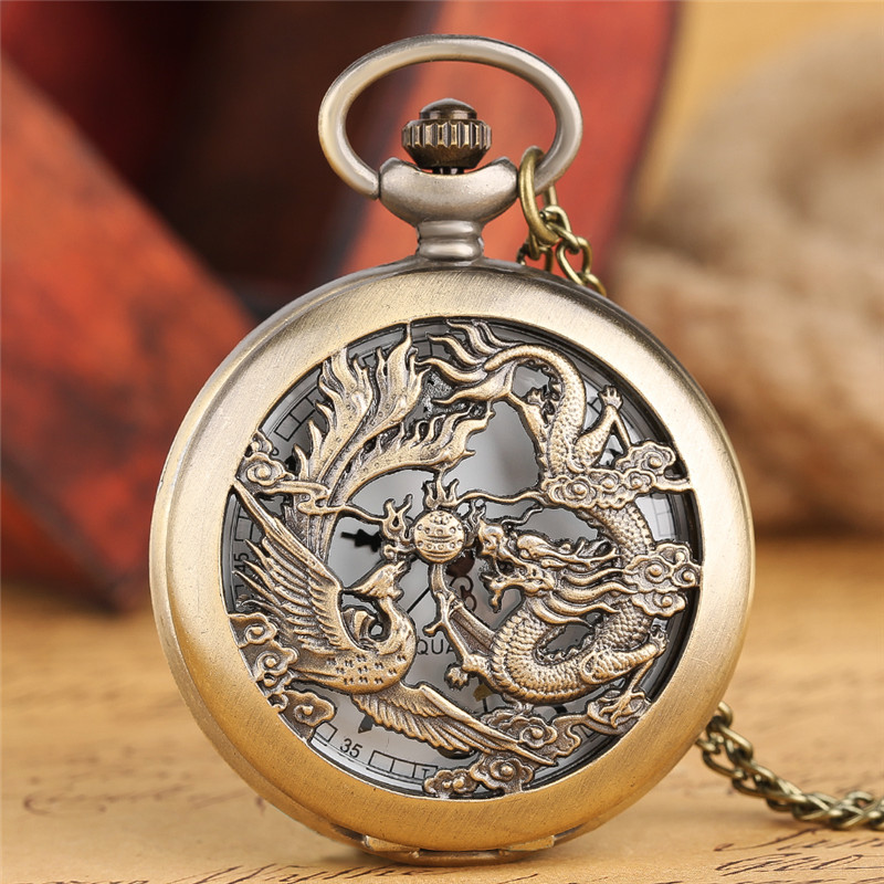 Men's Fashion Dragon Phoenix Pocket Watch Casual Bronze Hollow Case Necklace Pendant Quartz Brief Arabic Number Round Dial Clock