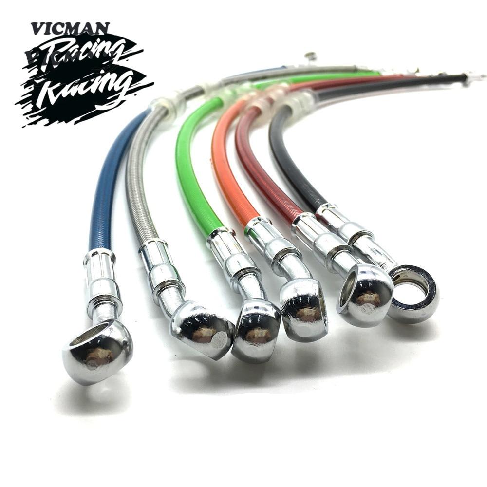Плетеный тормозной шланг для мотоцикла, велосипеда-внедорожника, стальной тормозной кабель, гидравлическая труба-банджо 400 мм-1500 мм для мот...