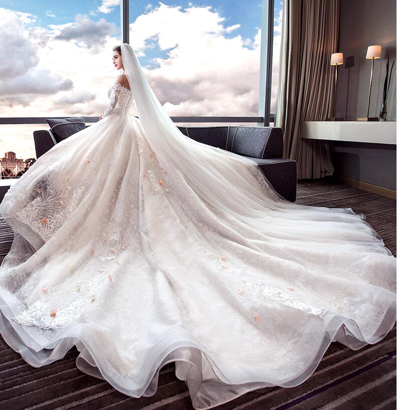 Robe De mariée De luxe 2018 demi manches robe De mariée magnifique train royal robes De mariée Vestidos De Noiva Princesa