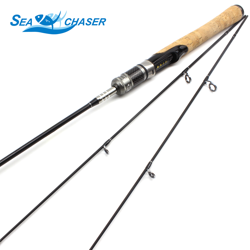Promotion! 1.68m 1.8m UL 2Tips Carbon Fishing Rods Lure 1.5 5g Ultra Light lure Spinning  Casting fishing wooden handle pole-in Fishing Rods from Sports & Entertainment