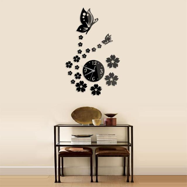 Fashion Solid Home Decorating Ideas Living Room Tv Background Wall Mirror Stickers Clock