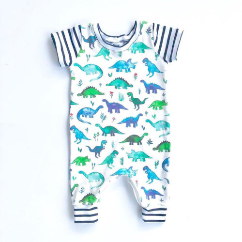 Baby Boys Kids Cotton Clothes Cartoon Dinosaur Short Sleeve Cotton   Romper   Outfits Jumpsuit New