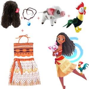Платье для девочек с героями мультфильма «Моана и Эльза», платье для девочек с париком и ожерелье, детская одежда для костюмированной вечер...