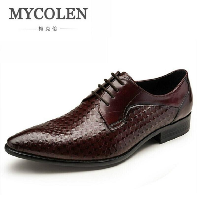 MYCOLEN Genuine Leather Mens Dress Shoes Black Brown Formal Business Male Shoes  Luxury Brand Men Shoes For Wedding sapatos 2017 men shoes fashion genuine leather oxfords shoes men s flats lace up men dress shoes spring autumn hombre wedding sapatos