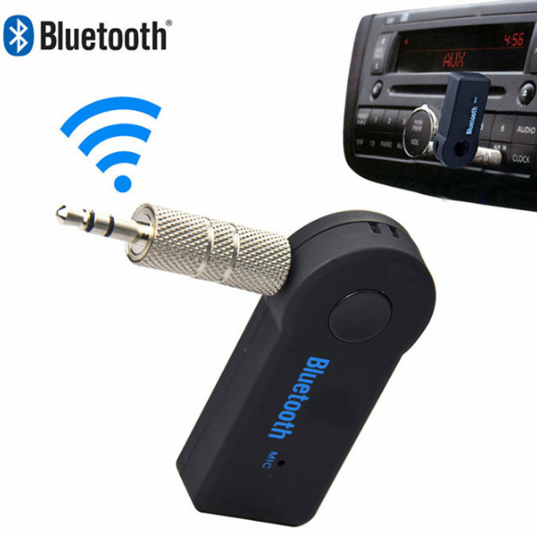 Marsnaska Handsfree Bluetooth 3.0 Car Kit Wireless 3.5mm Streaming A2DP Car Auto Audio Music Receiver Video Player Function Micr ...